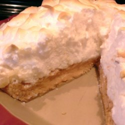 Peanut Butter Meringue Pie Recipe - Peanut butter filling is topped with a glossy, light meringue in this peanut butter meringue pie recipe.