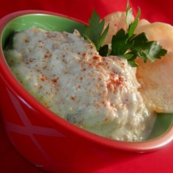 Tuna Dip I Recipe - A tangy dip that's really easy and fast. Sweet pickles are the secret ingredient. Great with buttery, round crackers or potato chips For a tangier taste, use sour cream instead of yogurt.