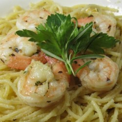 Shrimp Spaghetti with Crumbs Recipe - Garlic-flavored bread crumbs add a toasty crunch to this simple shrimp and spaghetti dinner.