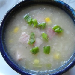 Cream of No Cream Ham and Potato Soup Recipe - There's no cream - or any dairy product - in this creamy ham and potato soup. Pureed white kidney beans provide the creamy texture. It's a good way to get one more meal from your leftover ham.