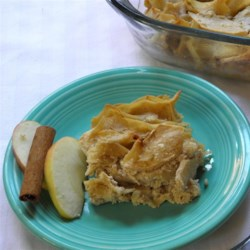 Traditional Apple Noodle Kugel Recipe - This traditional apple kugel recipe includes egg noodles and apples baked in a sweet cream cheese base that can be served as a dessert or side dish.