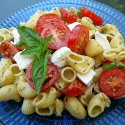 Pesto Pasta Caprese Salad Recipe - Rotini pasta is tossed with pesto, fresh mozzarella, and tomatoes for a colorful pasta version of Caprese salad.