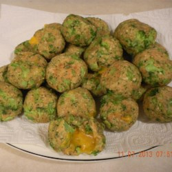 Little Broccoli Bites Recipe - These are great little broccoli appetizers shaped into balls that are baked (not fried).  They can also be made ahead of time and frozen. Can be served warm or cold.  Always a hit with company.