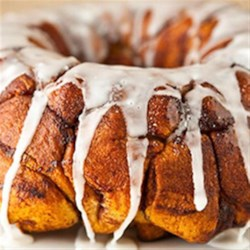 Cream Cheese-Cinnamon Roll Monkey Bread Recipe - Blogger Angie McGowan of Eclectic Recipes shares a fun monkey bread recipe using Pillsbury(R) Grands!(R) cinnamon rolls.