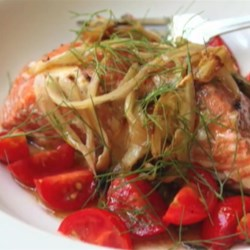 Fennel-Smoked Salmon Recipe - Smoke your salmon atop a bed of fennel, then serve with a cherry tomato fennel-thread salad.