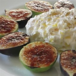Fig Brulee with Burrata Cheese Recipe - Figs sprinkled with sugar and bruleed to beautiful caramelized perfection, then served with creamy, decadent Burrata cheese.