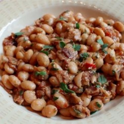 Bacon and Cranberry Bean Ragout Recipe - Slow cooked cranberry beans are combined with bacon, lemon, rosemary, and garlic for a smoky and satisfying side dish.