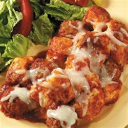 Italian Meatball and Biscuit Bake Recipe - Just four convenient ingredients bake into hearty family-size comfort food!