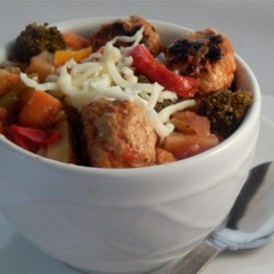 Jesse's Spicy Veggie and Turkey Meatball Stew Recipe - This is a delicious blend of mixed vegetables and turkey meatballs that is guaranteed to make you smile!