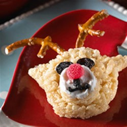 Red-Nosed Reindeer Recipe - With some gumdrops, pretzels and a little creativity, you and your little elves can make a whole team of Santa's flying friends.