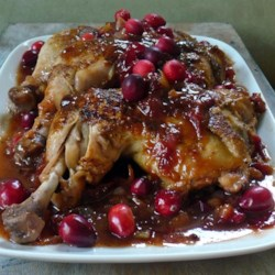 Cranberry BBQ Chicken Recipe - A great way to make everyone's favorite chicken even more fun--bake the chicken with your favorite bottled barbecue sauce and a can of cranberries.