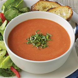 "Contadina(R) ""Creamy"" Tomato Soup Recipe - Rich, homemade tomato soup with cannellini beans, shallots, and a bit of heat is blended for a creamy, delicious bowlful that's ready to serve in less than 30 minutes."