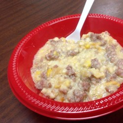 My Sausage Chowder Recipe - Sausage and corn are the base for this cheesy chowder. Tasty and filling on those cool October days. My children love this and it is so easy to make.  I can have this on the table in less than 30 minutes.