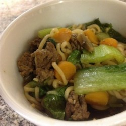 Quick Asian Beef Noodle Soup Recipe - Very quick to make with inexpensive ingredients.  Can be made low fat by substituting ground turkey and baked ramen noodles, and by omitting oil.