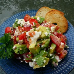 Avocado Feta Salsa Recipe - A chunky, savory summer salsa that tastes great with pita or tortilla chips.