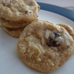 Raisin Coconut Treasure Cookies Recipe - Another nice Christmas cookie.   If you like, you may substitute 1 1/2 cups chocolate chips for the raisins.