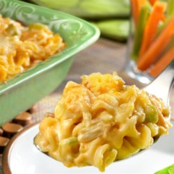 Buffalo Chicken Casserole Recipe - This kickin' casserole has all the classic buffalo chicken flavor you love, and is made hearty with the addition of rotini pasta and cream of chicken soup. It delivers big, bold taste and is on the table in just 45 minutes!