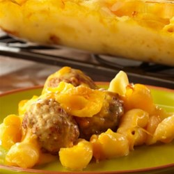 Cheeseburger Mac and Cheese Recipe - Looking for a casserole that will earn rave reviews? Look no further . . . pasta, Cheddar cheese soup, milk, Cheddar cheese and meatballs combine for a family-friendly casserole that's loaded with flavor. It's easy, delicious and on the table in just 45 minutes.