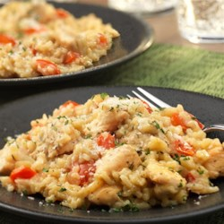 Creamy Risotto-Style Chicken and Rice Recipe - Savory dinners like this one-skillet creamy chicken and rice allow you to transform on-hand ingredients into a delicious meal your whole family will enjoy!
