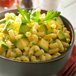 Avocado Mac and Cheese Recipe - Avocado adds extra creaminess to this zesty, reduced-fat mac & cheese with chili powder, lime juice and chives.