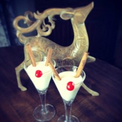 Rudolph-Tini Recipe - Cinnamon sticks and a cherry are used as the antlers and reindeer nose on the edge of the glass for garnish!