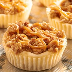 RITZ New York-Style Mini Crumb Cheesecakes Recipe - A salty sweet combination of RITZ Crackers and New York-style crumb cheesecake, with RITZ Crackers as the cheesecake crust with RITZ Bits Peanut Butter Sandwich crackers in the crumb topping.