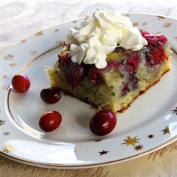 Fresh Cranberry Cake Recipe - Fresh cranberries are a deliciously tart addition to this simple cake. A sweet cream sauce poured over the hot cake keeps it extra moist.