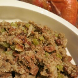 Basic Yankee Bread Stuffing Recipe - This is my mother-in-law's recipe for traditional bread stuffing. Bread, pork and seasonings blend to create a perfect filling for the holiday bird. Use more bread if needed to create a stuffing that's moist, but not mushy.