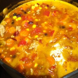 Easy Turkey Taco Soup Recipe - Ground turkey is a tasty alternative to the typical ground beef in other taco soups. The best part? This quick and easy soup needs only 30 minutes to simmer.