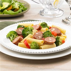Johnsonville(R) Smoked Chicken Italian Sausage and Broccoli Rigatoni Recipe - Dinner's on the table in 30 minutes with this rigatoni, sausage, and veggie dish sprinkled with grated cheese.
