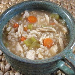 Chicken with Barley Soup Recipe - Simmering chicken thighs in water provides the stock for this chicken soup with barley, vegetables, and plenty of seasoning.