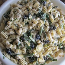 Artichoke Asparagus Pasta Salad Recipe - A colorful pasta salad combines tri-color pasta in your favorite shape, asparagus, broccoli, black olives, and artichoke hearts in a creamy ranch-style dressing with lots of Parmesan cheese. The salad rests for 12 hours to chill, so it's great for a make-ahead meal. This recipe makes a big batch.