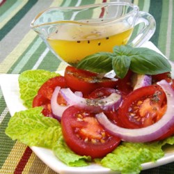 Herb Dressing Recipe - This dressing also tastes wonderful on cold pasta.  It actually is best to use dried basil in this recipe, because fresh basil will turn a funny color.
