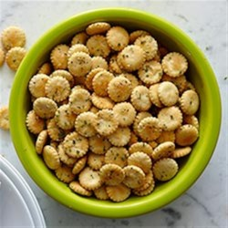 Hidden Valley Oyster Crackers Recipe - Oyster crackers are baked with a dusting of Hidden Valley(R) Original Ranch(R) Seasoning Mix, dill, and other optional spices until golden brown for an easy, crispy snack.