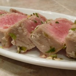 Grilled Lime Cilantro Ahi with Honey Glaze Recipe - Delicious lime-cilantro marinated ahi, grilled and glazed with a mouthwatering honey glaze.