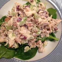 Rachel's Cranberry Chicken Salad Recipe - A light chicken salad with the sweetness of dried cranberries and the crunch of pecans can be served as a sandwich filling or eaten as is. Good immediately; even better if chilled for several hours.