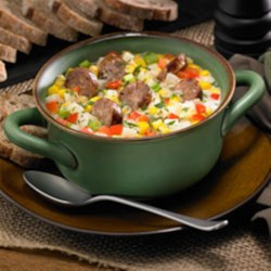 Corn and Potato Chowder with Mild Italian Sausage Recipe - This hearty chowder with chunks of sausage makes a delicious warming meal on a chilly day.