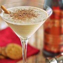 Cinnamon Cookie Martini Recipe - Chocolate, coffee, and cinnamon flavors in a vodka martini topped with chocolate shavings make a terrific cocktail.