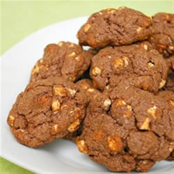 Kahlua Cocoa Chip Cookies Recipe - These rich chocolate chip cookies with Kahlua, hot cocoa mix, chocolate chips and marshmallow bits will satisfy the most discerning sweet tooth.