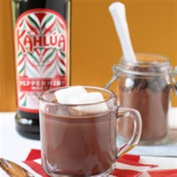 Kahlua Peppermint Cocoa with Homemade Hot Cocoa Mix Recipe - Make a big batch of hot cocoa mix then whenever you need a warming cup, just heat some milk and bring out the Kahlua Peppermint Mocha.