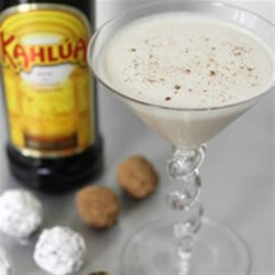 Winter White Cocktail Recipe - Kahlua, chocolate liqueur, whipped topping and milk make a creamy cocktail for winter sipping.