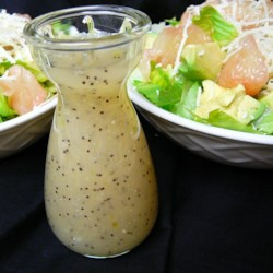 Healthier Poppy Seed Salad Dressing for 2 Recipe - Poppy seed salad dressing for two combines water and cornstarch as a thickening agent for this creamy and light salad topper.