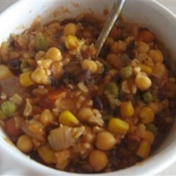 Hearty Vegetable Soup Recipe - A delicious, low-fat soup full of beans, rice, and vegetables.  Ideal for folks watching calorie intake, or for those of us trying to eat more vegetables.  Completely vegetarian.