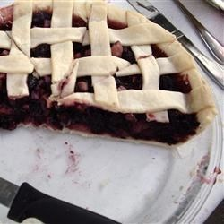 Mulberry Rhubarb Pie Recipe - If you can't find mulberries, you may use blackberries or raspberries instead. Simply mix rhubarb, berries, sugar, and flour together, and then spoon the mixture into an unbaked crust, dot it with butter, add the top crust.