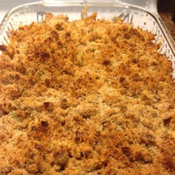 Easy Mac and Cheese Veggie Chicken Casserole from Country Crock(R) Recipe - Cooked pasta is combined with cheese, diced cooked chicken, and veggies then popped in the oven for a quick, family-pleasing, one-dish dinner.