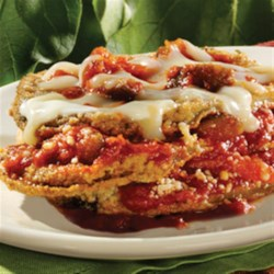 Ragu No-Frying Eggplant Parmesan Recipe - Breaded eggplant slices are baked then layered with lots of cheese and sauce for a delicious, family-favorite dinner.