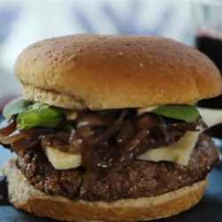 Seahawk Burger Recipe - Build a burger worthy of the NFC Champion Seattle Seahawks using a grass-fed beef burger, Washington state cheese, wine, arugula, and a Sriracha and espresso infused aioli.