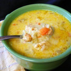 Mulligatawny Soup I Recipe - This recipe combines chicken breast, curry powder, rice, chopped apple, and cream for lovely, Indian-inspired soup.  You will need about an hour to prepare this soup.