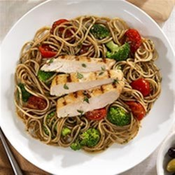 Whole Grain Spaghetti with Cherry Tomatoes, Marinated Chicken Breast and Pesto Recipe - Strips of grilled chicken breast are served with spaghetti tossed in a veggie and pesto mixture.