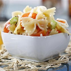 Farfalle with Giardiniera, Cherry Tomatoes and Shredded Mozzarella Recipe - This colorful pasta salad combines farfalle (bow ties) with pickled garden veggies, cherry tomatoes and shredded mozzarella cheese.